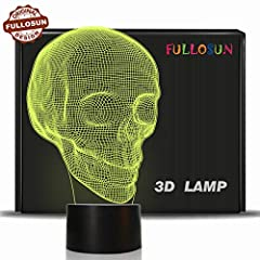 Why Choose it? A Brand new fancy creative birthday gift and the best ideal choice for home décor skull night light for any age. The 3D night lights for bedroom is a combination of art and technology that creates an optical 3D illusion and pla...