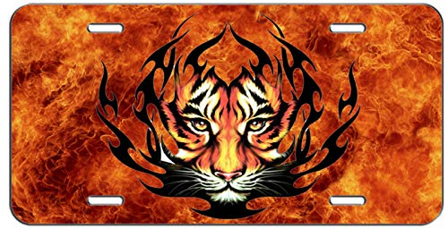 (Flaming Tribal Tiger Personalized Novelty License Plates, Custom Decorative Front Car Tag Sign for US Vehicles 4 Holes (12