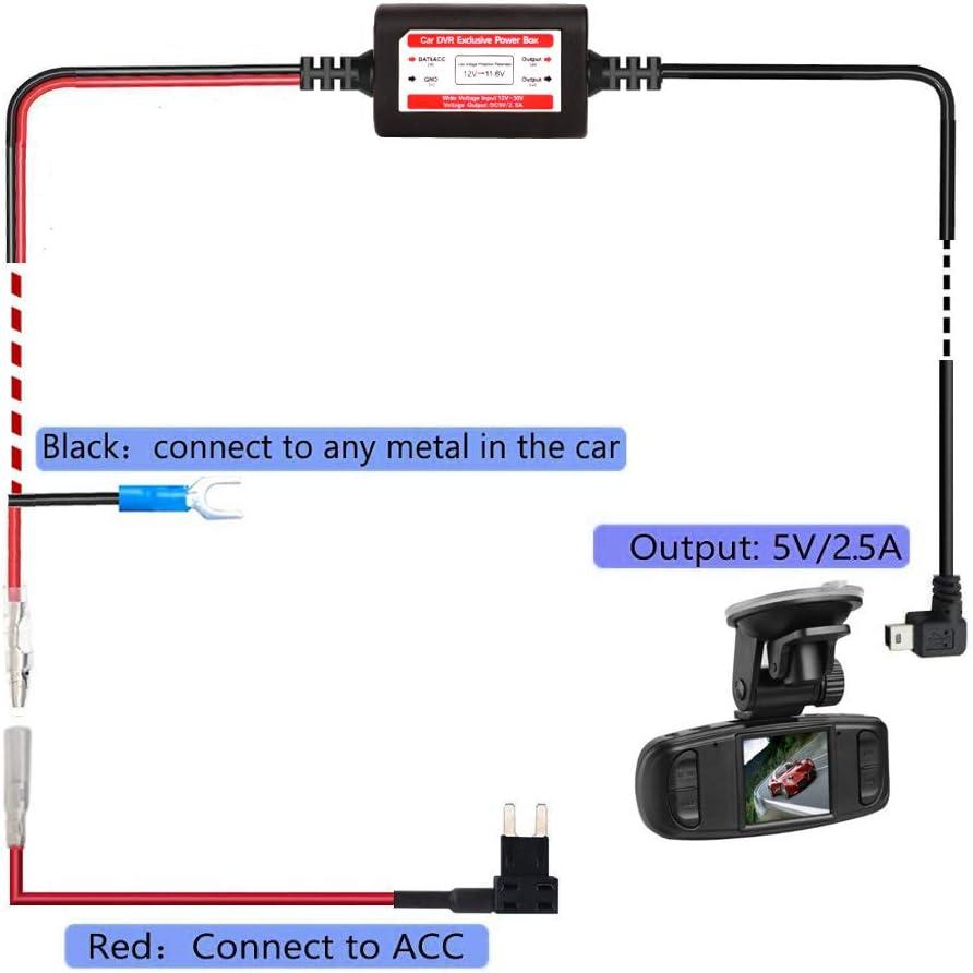 //ACN Mini//ACZ Micro2 Fuse Mini//Micro USB Hard Wire Kit for Dashcam 11.6V Real Battery Drain Protection ACS Gebildet Dash Cam Hardwire Kit ATO//ATC 12V-24V to 5V Car Dash Camera Charger Power Cord
