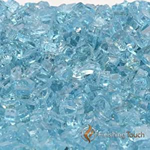 """8 Pound Container of 1/4"""" Caribbean Blue Fireglass"""
