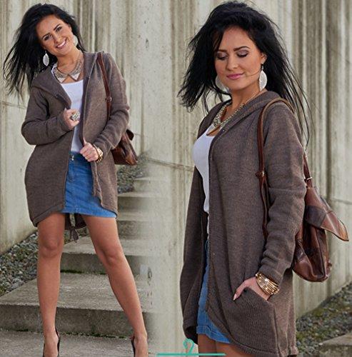 4sold (TM)–Cárdigan para mujer manga larga con capucha y bolsillos poncho, mujer, cardigan coffee, universal cardigan light brown