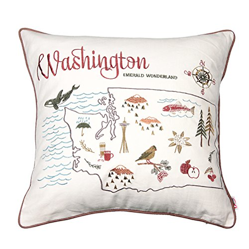 Queenie® - 1 Pc City Scene Embroidery Cotton Linen Decorative Pillowcase Throw Pillow Case Cushion Cover 18 X 18 Inch (45 X 45 Cm) (City Map of Washington)