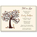 Autumn Bridal Shower Invitations, Fall, Fall in Love, Maple, Tree, Leaves, Wedding, Falling,Rustic, Brown, Gold, Ivory, Personalized, Custom, 10 Printed Invites with Envelopes, Fall Tree