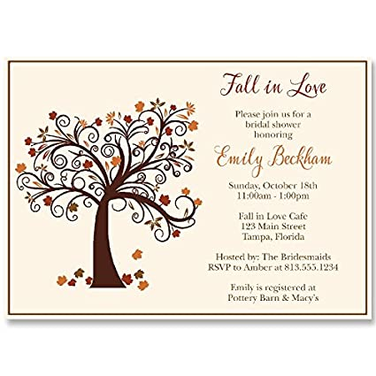 autumn bridal shower invitations fall fall in love maple tree leaves