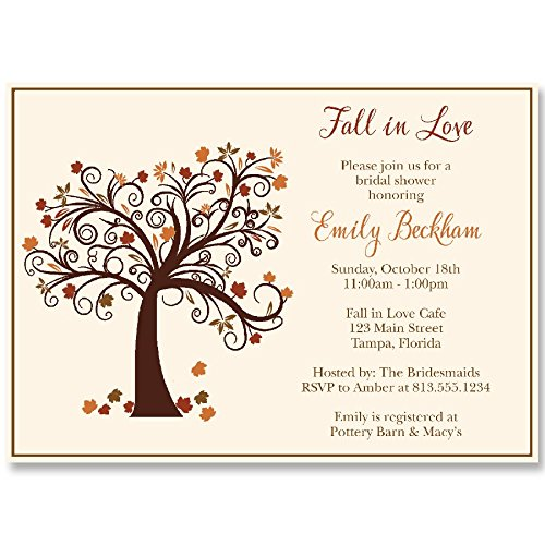 Invitation Wedding Leaves Fall (Autumn Bridal Shower Invitations, Fall, Fall in Love, Maple, Tree, Leaves, Wedding, Falling,Rustic, Brown, Gold, Ivory, Personalized, Custom, 10 Printed Invites with Envelopes, Fall Tree)