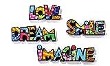Romero Britto Mini/Miniature Word Set Love, Dream, Smile, & Imagine