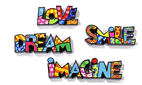 Romero Britto Mini/Miniature Word Set Love, Dream, Smile, & Imagine by Romero Britto