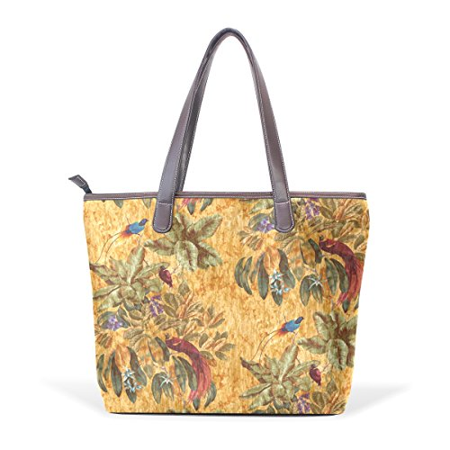 Ye Store Birds Of Paradise Copper Lady PU Leather Handbag Tote Bag Shoulder Bag Shopping (Bird Of Paradise Tote)
