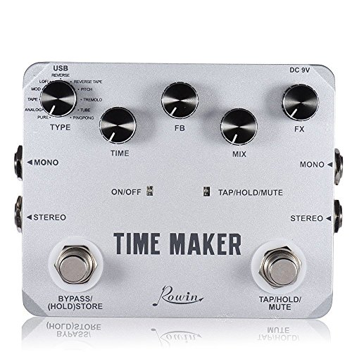 Rowin Time Maker 11 Types of Ultimate Delay Bass Guitar Effect Pedal Stereo with Tap Tempo (Best Delay Pedals Ever)
