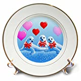 3dRose cp_11621_1 Baby Harp Seals, Hearts, Valentine, I Love You, Aquatic Animals, Sea Life Porcelain Plate, 8-Inch