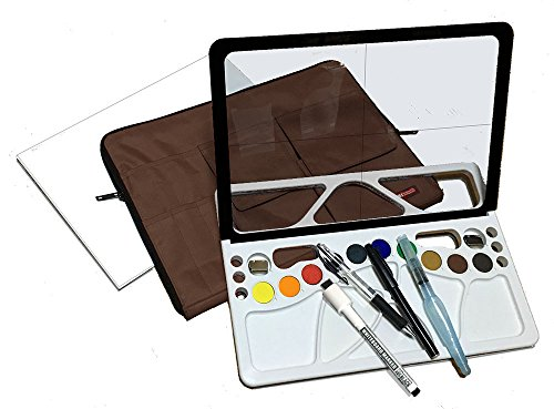 For beginners, new and useful watercolor painting material full set made in Japan. Brown bag by w-lette