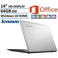 Lenovo IdeaPad 14 High Performance Laptop, Intel Celeron Dual-Core Processor, 2GB RAM, 64GB eMMC HDD, Webcam, WIFI, HDMI, USB 3.0, NO DVD, Windows 10, 1 Year Microsoft Office 365
