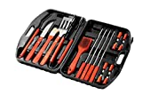Juvale BBQ Grill Tools with Carrying Case - 18 Piece Set Stainless Steel Tools with Wooden Handles - Complete Barbeque Kit - 17.25 x 3 x 12 Inches