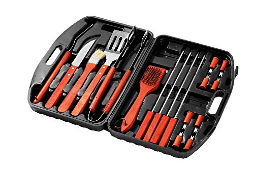 ls with Carrying Case - 18 Piece Set Stainless Steel Tools with Wooden Handles - Complete Barbeque Kit - 17.25 x 3 x 12 Inches ()