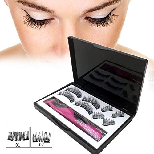 Labyrinen 8PCS 3D Magnetic False Eyelashes, Double Magnetic Ultra Thin 3D Fiber Fake Lashes Pure Handwork Best Fake Lashes Extension for Natural Look Seconds to Apply