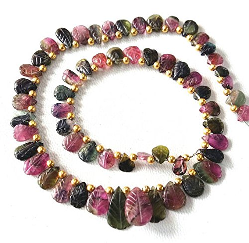 Natural WATERMELON TOURMALINE carved tourmaline leaf shaped briolettes,10 inch strand Approx ,Size - 5x6 -- 8x12 (Natural Leaf Shaped Beads)