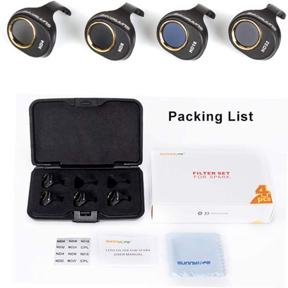 JINGZ 4 in 1 HD Drone Camera ND32 16//8 //4 Lens Filter Set for DJI Spark Durable
