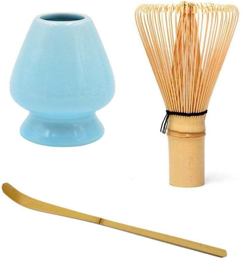 A Puzzlos Whisk Tea Bamboo Chasen Traditional Matcha Green Tea Powder Whisker Set Tea Whisk Scoop Tea Spoon Deep Whisk Holder Ideal Gift for Green Tea Lovers