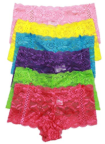 Lacey Boyshorts - ToBeInStyle Women's Pack of 6 Sheer Cheeky Boyshorts - Large