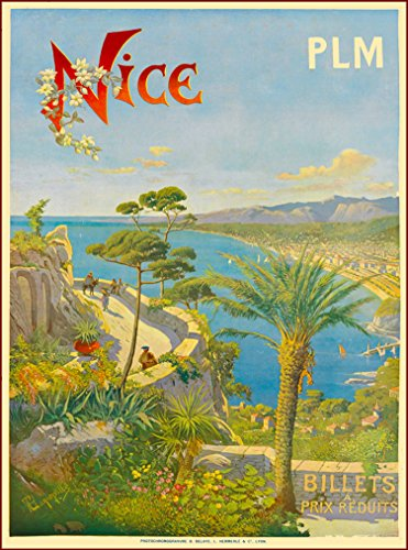 A SLICE IN TIME Nice Beach France French Riviera European Europe Vintage Travel advertisement Art Poster Print Poster measures 10 x 13.5 inches