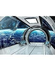 wandmotiv24 Fotobehang Ruimteschip ruimte uitbreidingsruimte XL 350 x 245 cm - 7 delen Fotobehang, muurschildering, motiefbehang, vliesbehang Aarde 3D effect gang gang Aarde 3D effect gang gang M6491