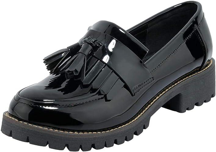 LADIES WOMENS FLAT LOW HEEL TASSEL LOAFERS BLACK PATENT WORK SCHOOL SHOES SIZE