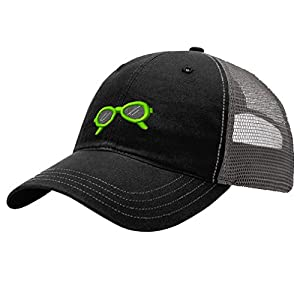 Speedy Pros Sunglasses Beauty Beach Embroidery Unisex Adult Snaps Cotton Richardson Front and Mesh Back Cap Hat - Black/Charcoal