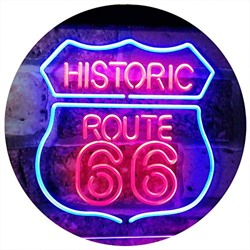 AdvpPro 2C Route 66 Historic US The Mother Road Decoration Dual Color LED Neon Sign Blue & Red 12