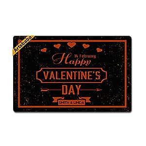 """Artsbaba Personalized Your Text Doormat Happy Valentine's Day Doormats Monogram Non-Slip Doormat Non-woven Fabric Floor Mat Indoor Entrance Rug Decor Mat 23.6"""" x 15.7"""""""