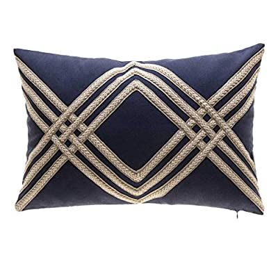 TINA'S HOME Nautical Woven Braided Decorative Oblong Pillows with Down Feather Filling | Solid Linen Blend Lumbar Pillow for Sofa Chair Bed Decor (14x20 inches, Navy and Beige) - ❤Includes: one (1) decorative oblong pillow; suitable for sofa couch bed decor ❤Measures: 14-inch length X 20-inch width X 3-inch depth (measurements may vary up to 1-inch since item is handcrafted) ❤ Details: Featurs beautiful woven braids, has a hidden zipper on the bottom, removable cover, with down feather insert. - living-room-soft-furnishings, living-room, decorative-pillows - 51C vxR 4hL. SS400  -