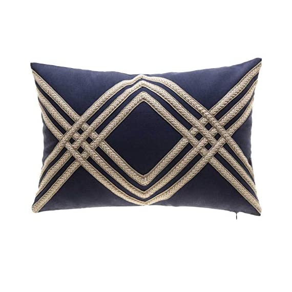 TINA'S HOME Nautical Woven Braided Decorative Oblong Pillows with Down Feather Filling | Solid Linen Blend Lumbar Pillow for Sofa Chair Bed Decor (14x20 inches, Navy and Beige) - ❤Includes: one (1) decorative oblong pillow; suitable for sofa couch bed decor ❤Measures: 14-inch length X 20-inch width X 3-inch depth (measurements may vary up to 1-inch since item is handcrafted) ❤ Details: Featurs beautiful woven braids, has a hidden zipper on the bottom, removable cover, with down feather insert. - living-room-soft-furnishings, living-room, decorative-pillows - 51C vxR 4hL. SS570  -