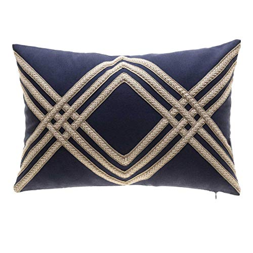 TINA'S HOME Nautical Woven Braided Decorative Oblong Pillows with Down Alternative Filling | Solid Linen Blend Lumbar Pillow for Sofa Chair Bed Decor (14x20 inches, Navy and Beige) ()