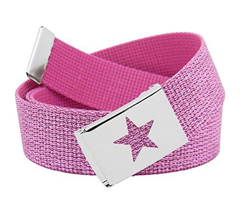 Girls Star Silver Flip Top School Uniform Belt Buckle with Canvas Web Belt
