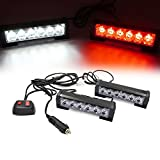 Ediors 2 X 6 LED 9 Modes Traffic Advisor Emergency Warning Vehicle Strobe Lights for Interior Roof / Dash / Windshield / Grille / Deck Universal Waterproof (White / Red)
