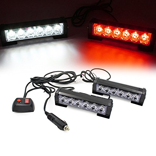 FOXCID 2 X 6 LED 9 Modes Traffic Advisor Emergency Warning Vehicle Strobe Lights for Interior Roof/Dash/Windshield/Grille/Deck Universal Waterproof (White/Red) -