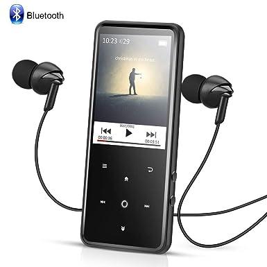 AGPTEK Reproductor Mp3 Bluetooth 8GB, HD Pantalla 2.4 a Colores con Botones Táctiles