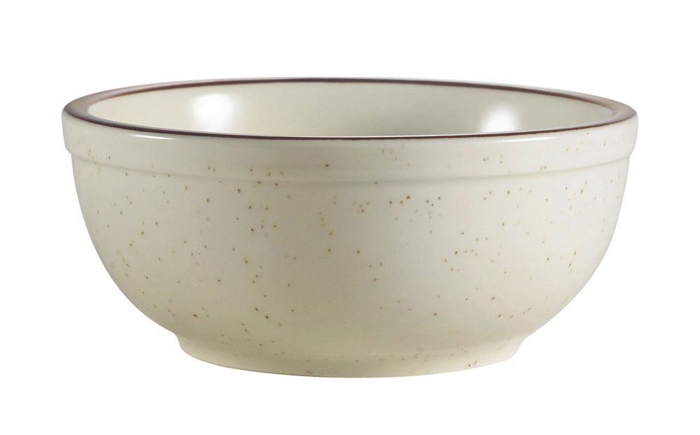 CAC China AZ-15 Arizona 5-5/8-Inch Brown Rim Brown Speckled American White Stoneware Nappie, 12.5-Ounce, Box of 36