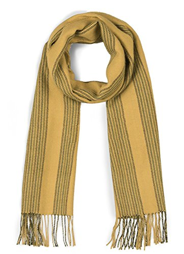 Alpaca Striped Scarf (100% Pure Baby Alpaca Striped Scarf for Men and Women (Gold /)