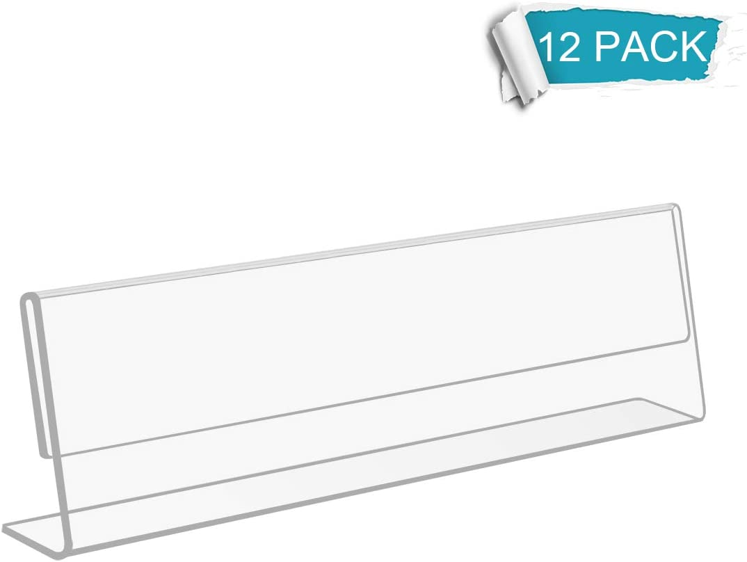 NIUBEE 12 Pack Acrylic 2x8 Name Plates for Desks,Horizontal Slant Back 2x8 Sign Holder for Table Display,Plastic Name License Plate Holder for Office Classroom Teacher Kids Woman Man,Blank