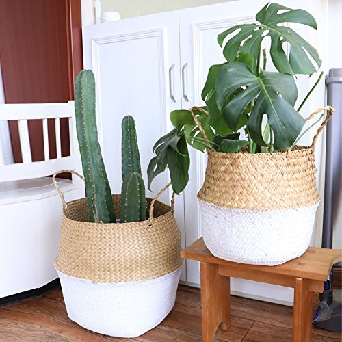 Samber Home Storage Organisation, Hand-Woven Foldable Plant Flower Pot Natural Seagrass Woven Basket Toy Storage Basket Wovening Laundry Basket Foldable Handcraft Weave Belly Basket with Handle(B/L)