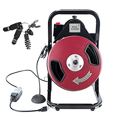 "1/2"" by 50FT Sewer Snake Drill Drain Auger Cleaner, 400W Electric Power Feed Drain Cleaning Machine with 4 Cutter & Foot Switch & Built-in GFCI, Fit 2"" to 4"" Pipes, UL Listed"