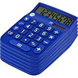 Office + Style 8 Digit Dual Powered Calculator with Large LCD Display, Blue (Pack of 6)