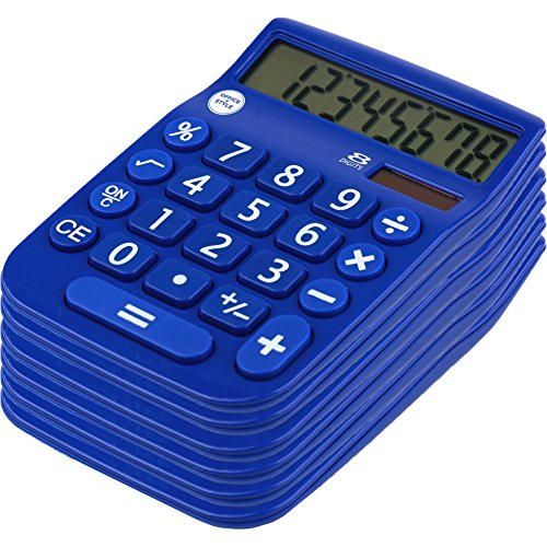 Office Basics (Office + Style 8 Digit Dual Powered Calculator with Large LCD Display, Blue (Pack of)