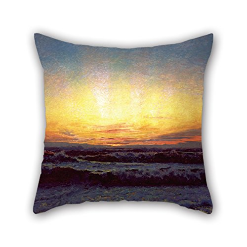 Loveloveu Oil Painting Laurits Tuxen - The North Sea In Stormy Weather. After Sunset. Højen Cushion Covers ,best For Kitchen,father,valentine,son,study Room,bench 20 X 20 Inches / 50 By 50 Cm(doubl