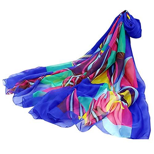 Protezione Adeshop Blue09 Donna Sciarpe Primavera Estate Sottile Scialle Morbido Leggero Uv Femminile Chic E Sciarpe Chiffon Fashion Elegante Spiaggia Stampa wpwHr6q