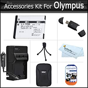 Accessories Kit For For Olympus VG-160, VG-140, VG-130, VG-120, VG-110 Digital Camera Includes Replacement Extended (800mAh) LI-70B Battery + Ac/Dc Rapid Travel Charger + Hard Case + LCD Screen Protectors + USB 2.0 SD Reader + Mini Tabletop Tripod + More