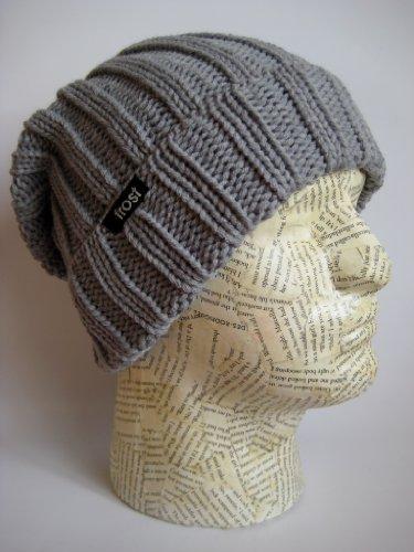 Otoño Frost Slouchy de Unisex gorro gris Puños de Rolled Beanie Invierno Sombreros Frost Sombreros qXEC74