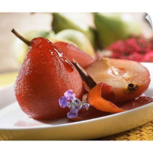 Canvas on Demand Wall Peel Wall Art Print Entitled Red Wine Pears on Plate 40
