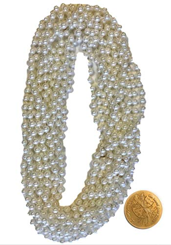 Mardi Gras Beads White Pearl- 33 Inch 10