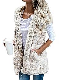 BYWX-Women Open Front Faux Fur Sleeveless Vest Jacket Outwear